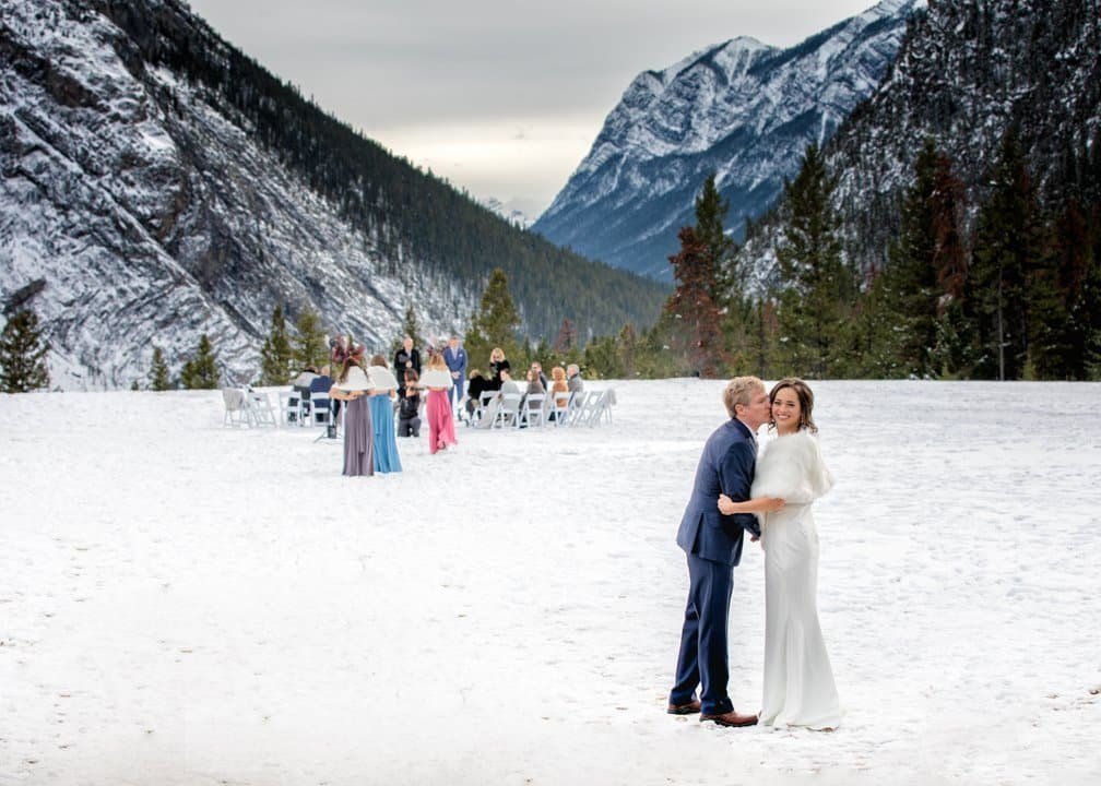 Father kisses the bride, Elopement Banff, Tunnel Mt.