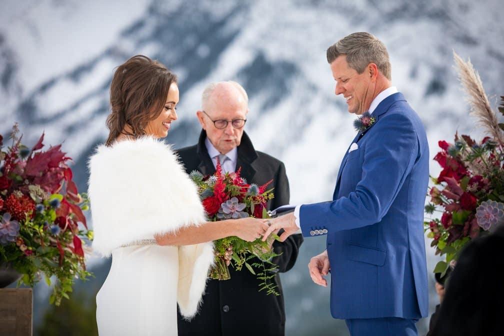 Ring exchange. Tunnel Mt. elopement in Banff.