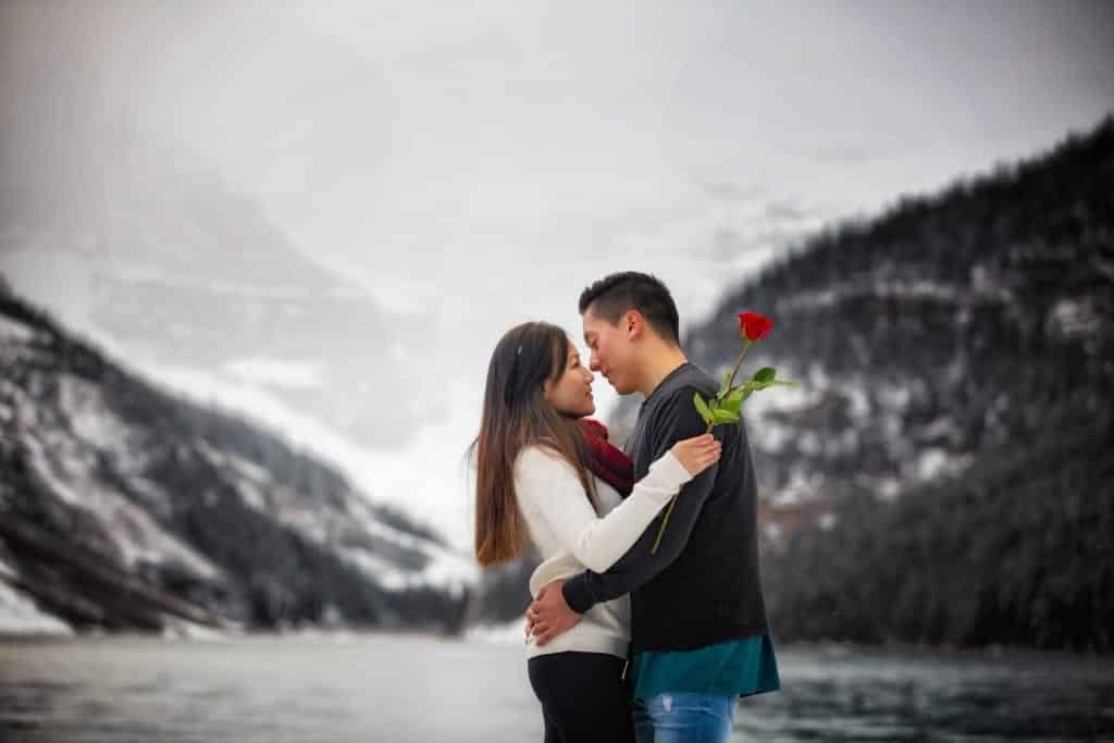 Lake Louise Engagement photographers, Burnett Photography,