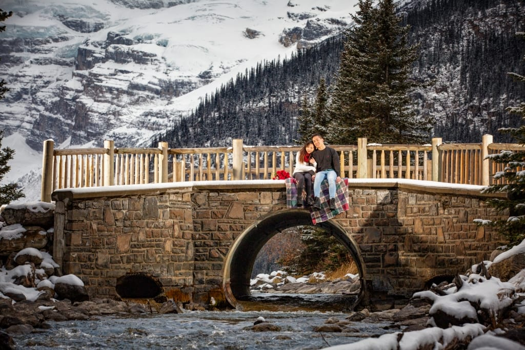 Lake Louise engagement, Banff engagement photographers, Burnett Photography