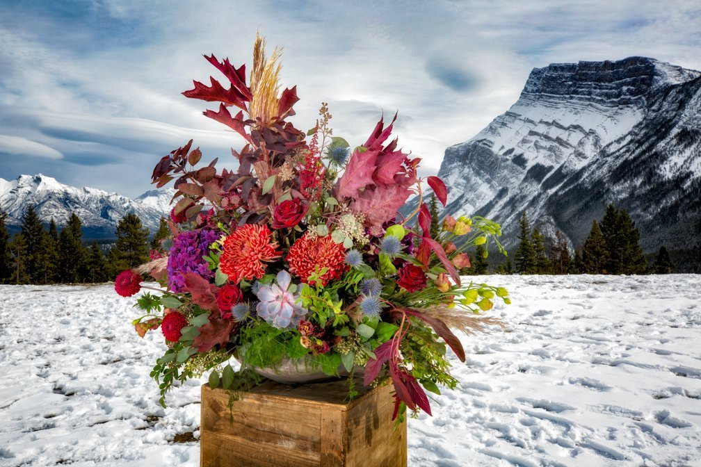 Elopement in Banff at Tunnel Mt. Reservoir. Flowers by Willow Flower Co.