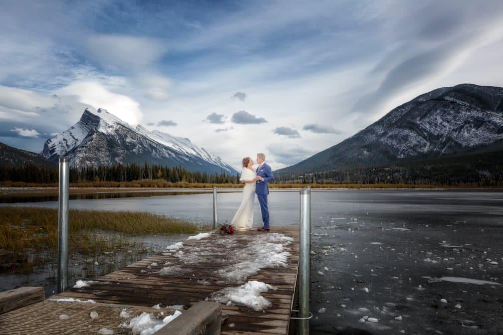 Wedding portrait at Vermillion Lake, Banff photographers, Burnett Photography.
