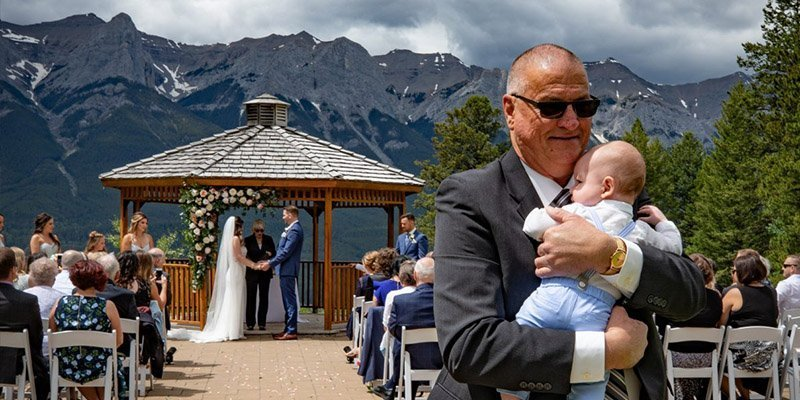 Outdoor wedding Silvertip canmore by Canmore wedding photographers, Burnett Photography