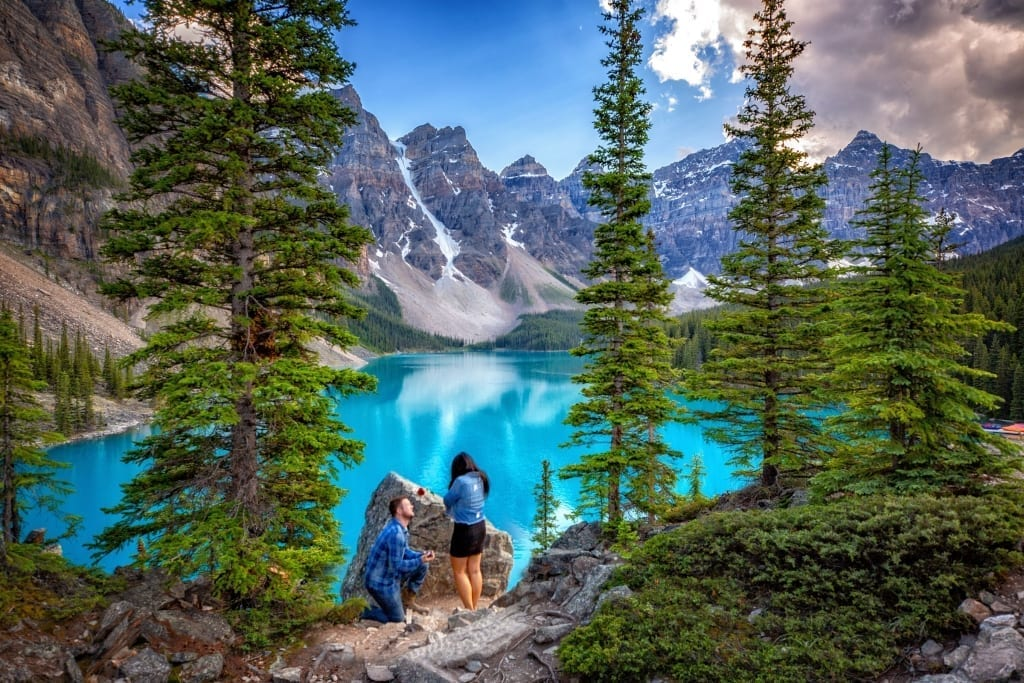 Proposal of Marriage at Moraine Lake, Lake Louise