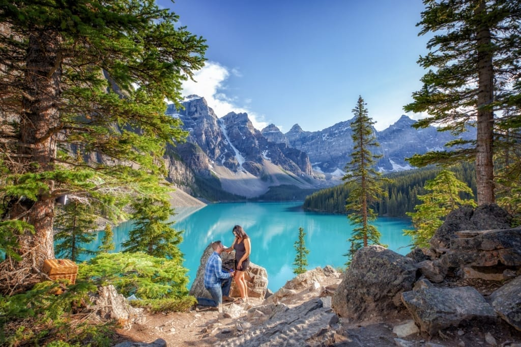 Proposal at Moraine Lake. Engagement photography by Lake Louise photographers, Burnett Photography