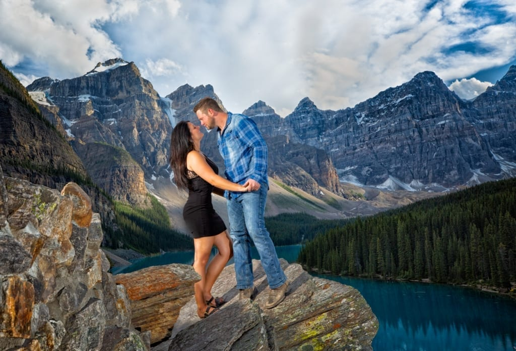 Proposal of Marriage at Moraine Lake. Engagement photography by Banff wedding photographers, Burnett Photography