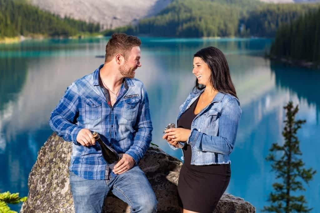Proposal of Marriage at Moraine Lake. Engagement photography by Banff photographers, Burnett Photography