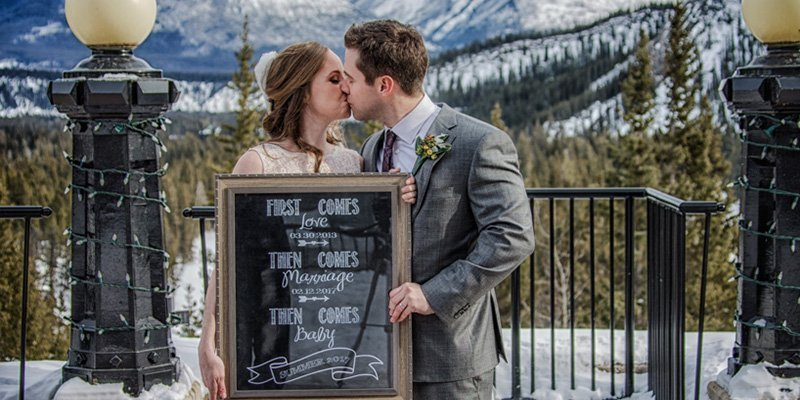 Banff Springs Hotel wedding photos, Bride and groom portraits by Banff wedding photographers, Burnett Photography