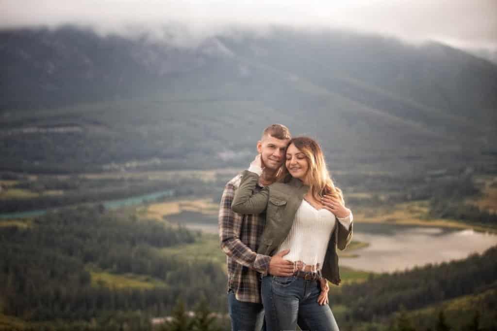 Banff engagement photography at Mount Norquay by portrait photographers, Troy and Shirleen Burnett, Burnett Photography.