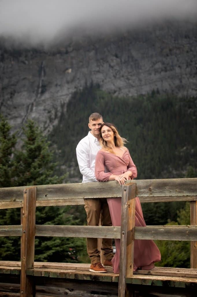 Banff engagement photographers, Burnett Photography, capture engagement pictures at Cascade Pond in Banff.