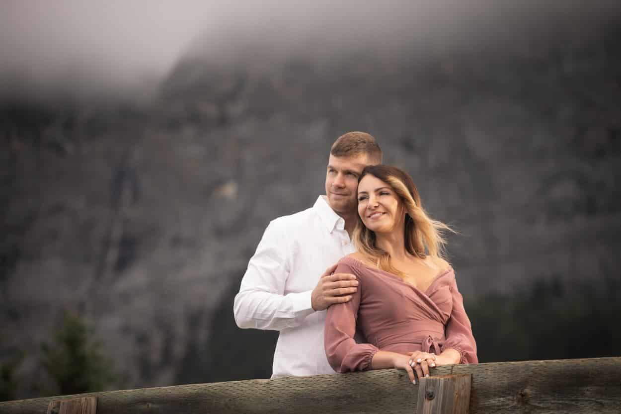 Banff engagement photographers, Burnett Photography, capture engagement pictures at Cascade Pond.