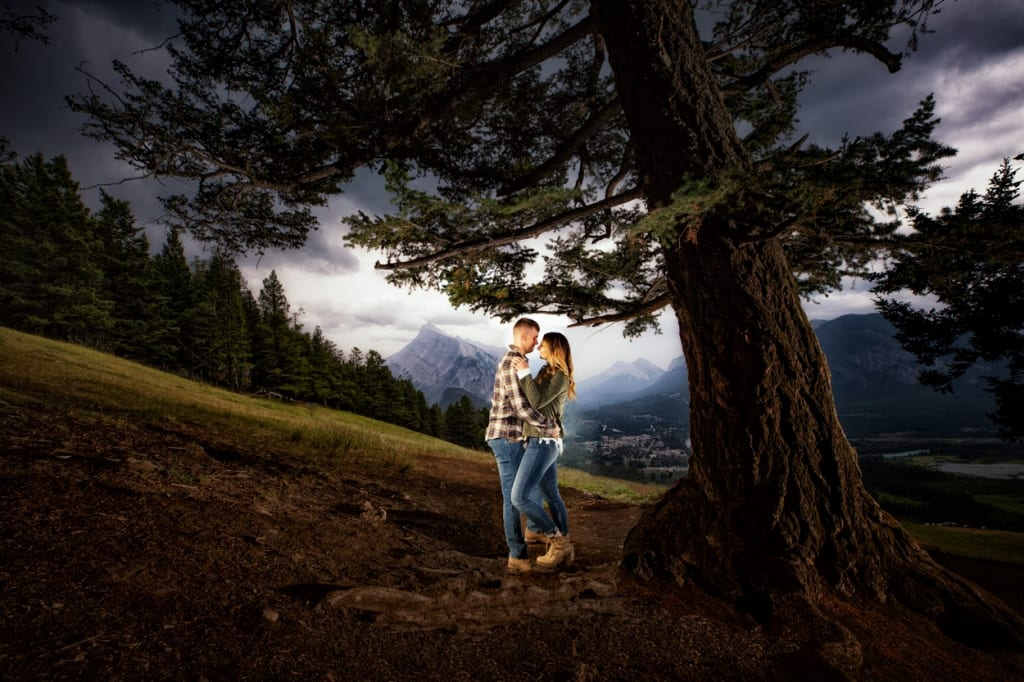 Banff engagement photographers, Burnett Photography, capture engagement pictures at Mount Norquay Meadow