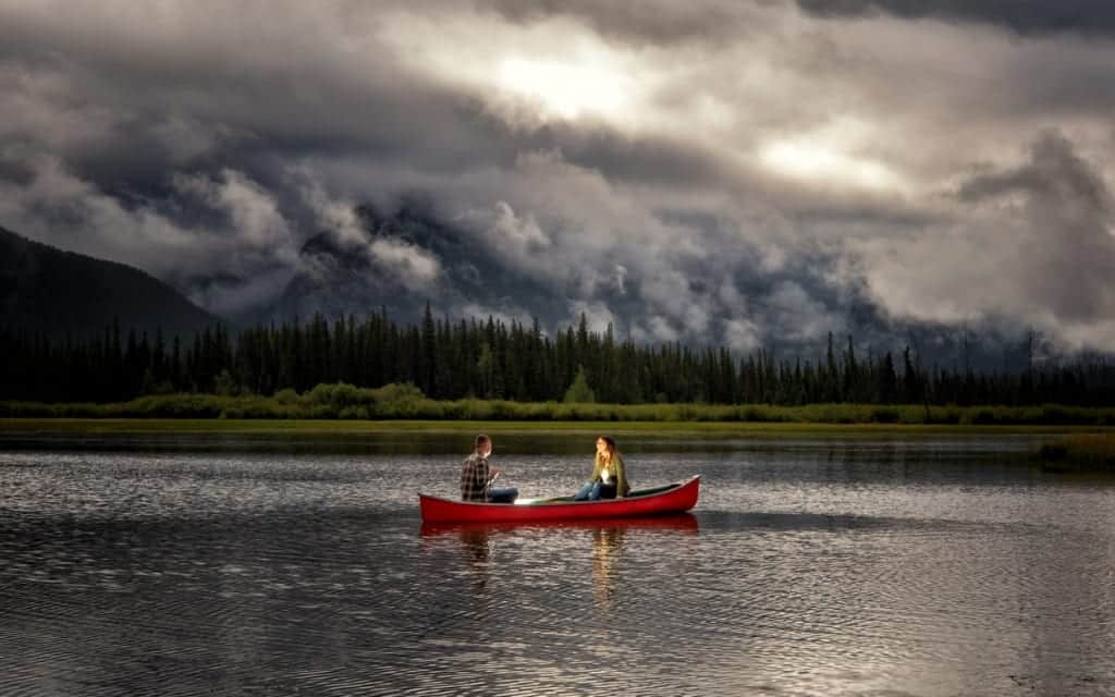 Banff engagement photographers, Burnett Photography, capture engagement pictures at Vermillion Lakes.