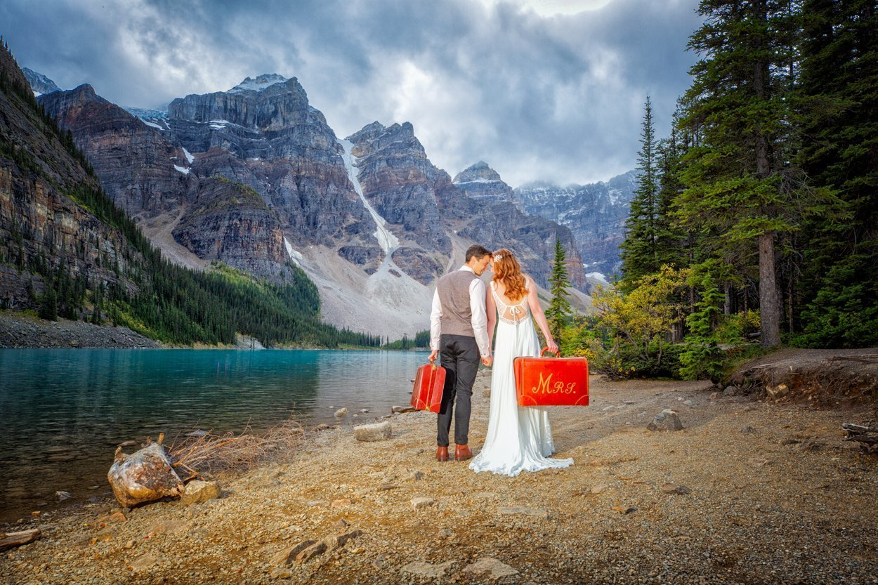 Moraine Lake Elopement Photography by Award-winning Lake Louise wedding photographers, Burnett Photography.