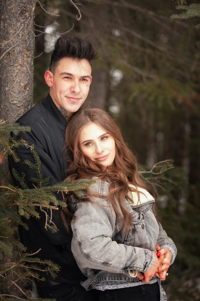 Engagement photography Canmore, Portrait photographer, Shirleen Burnett, Captures newly engaged couple's portrait,