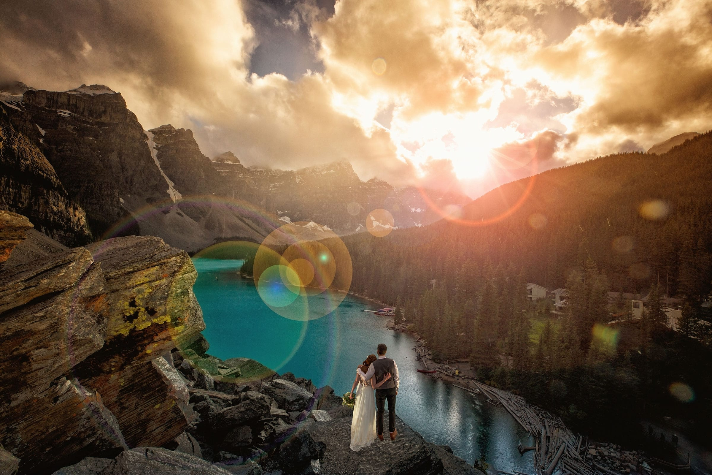 Moraine Lake Elopement by Banff wedding photographers, Burnett Photography