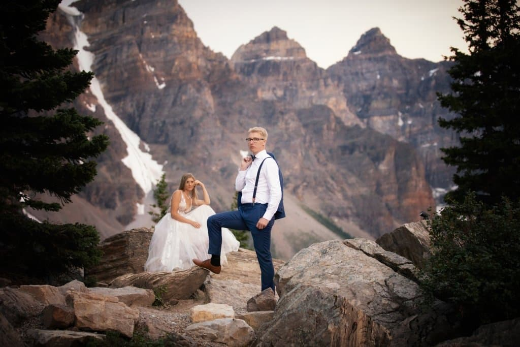 Moraine Lake wedding portrait photography.