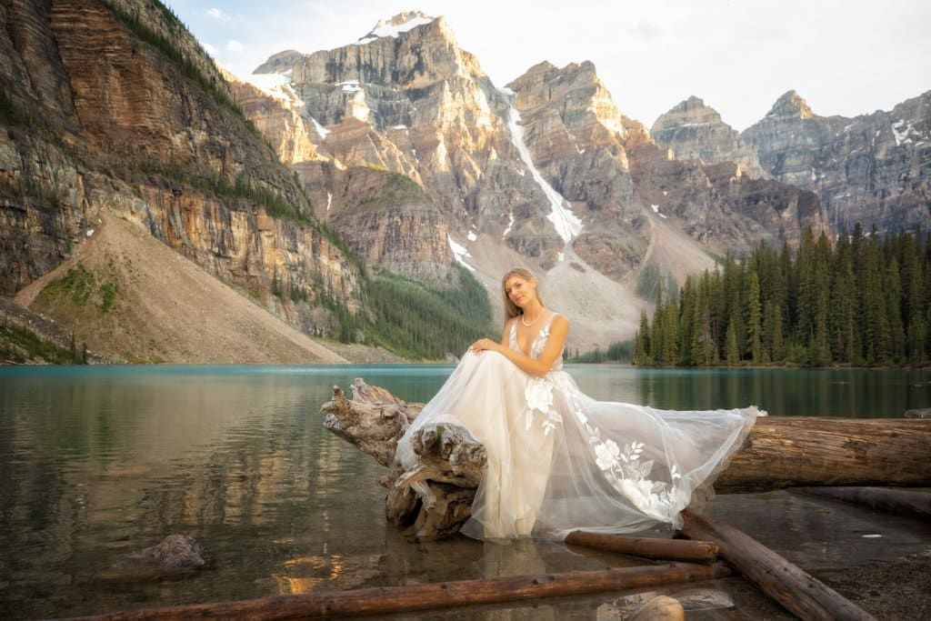 Get married at moraine lake by Lake Louise photographers, Burnett Photography