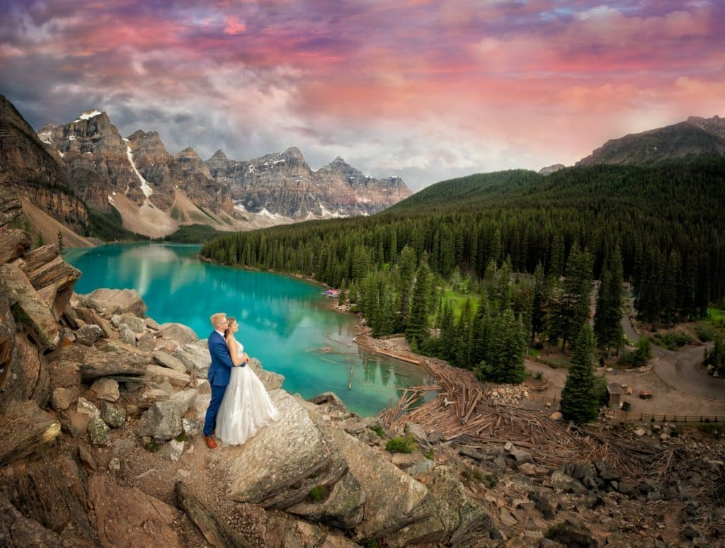 How to Get married at moraine lake by Lake Louise photographers, Burnett Photography