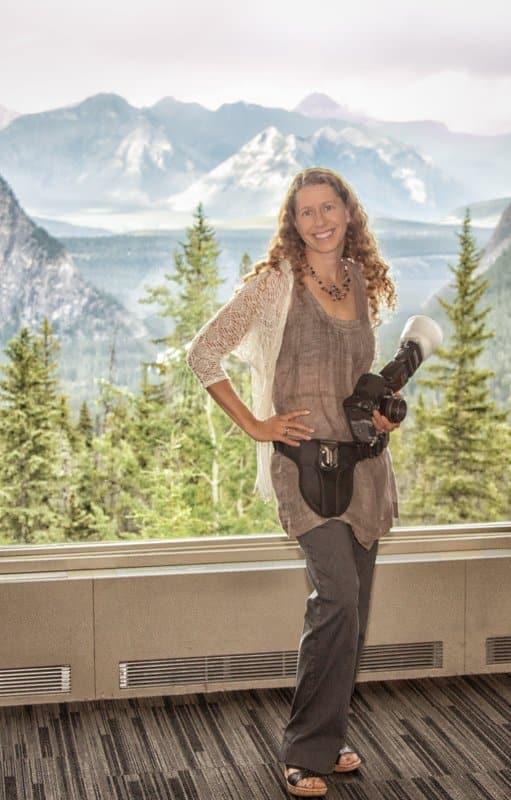 Banff wedding photographer, Shirleen Burnett at work at a Rimrock Hotel wedding.