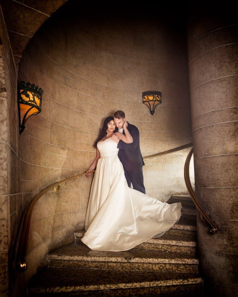 Banff Springs Hotel Wedding. Wedding portrait Mount Stephan's Hall. By Banff wedding photographers, Burnett Photography.