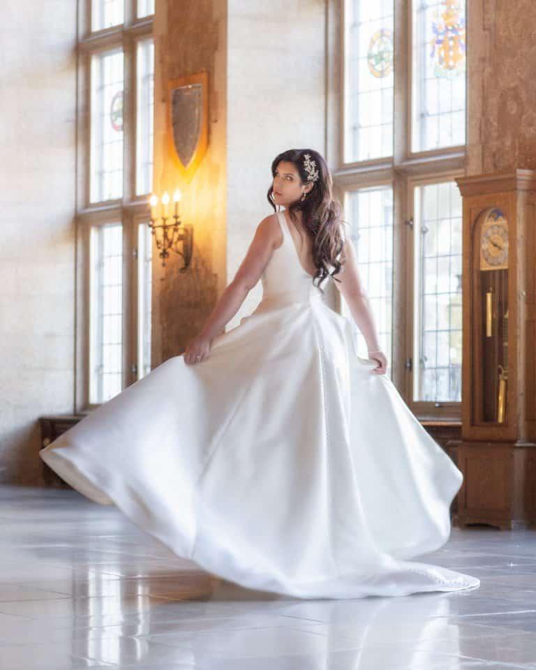 Banff Springs Hotel Wedding. Bridal portrait Mount Stephan's Hall. By Banff wedding photographers, Burnett Photography.