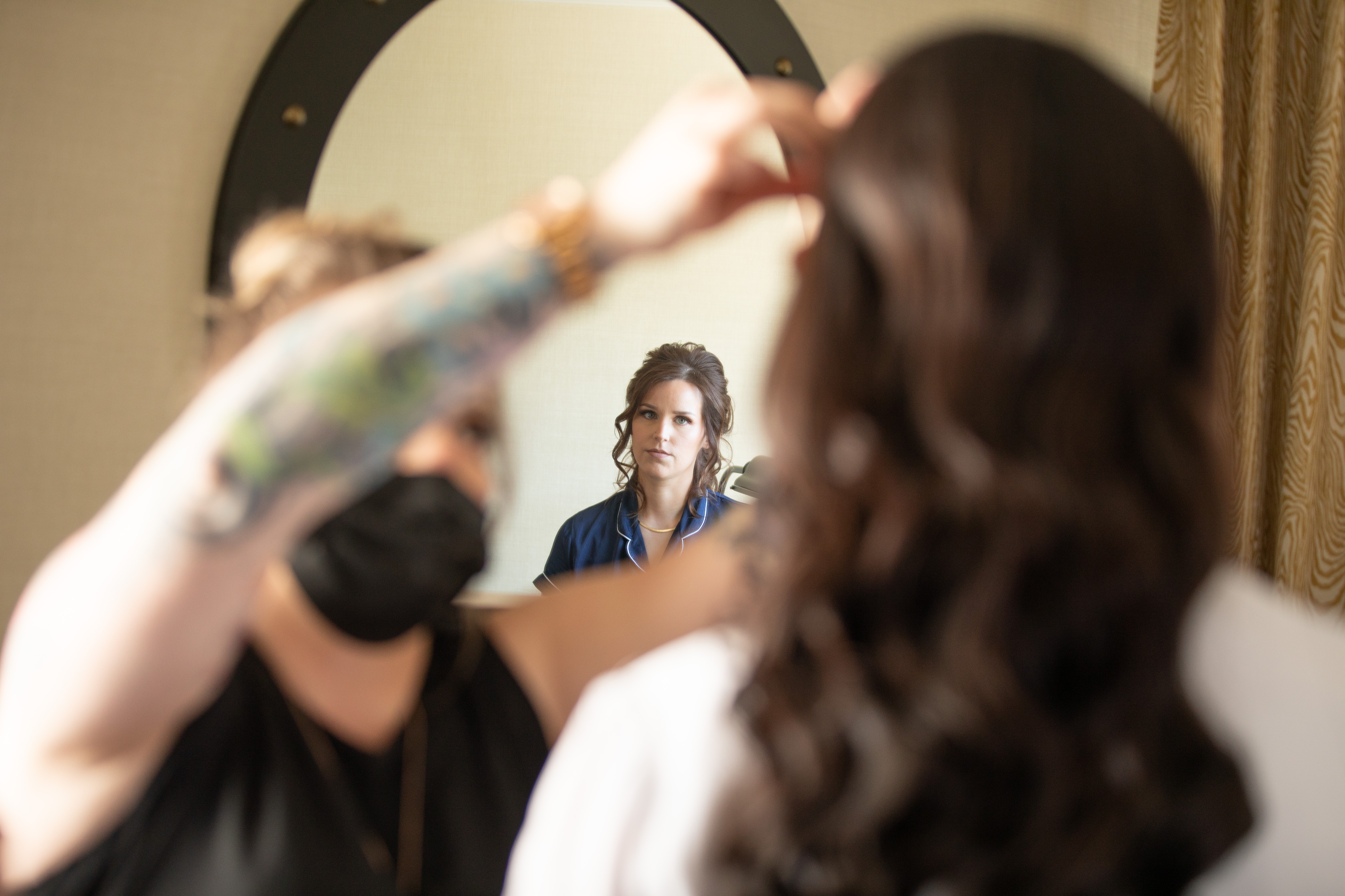 Banff Springs Hotel Wedding. Bride getting ready before ceremony in the Mt. Stephan's Hall.