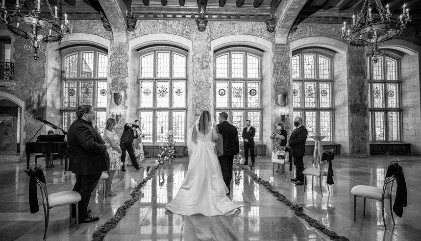 Banff Springs Hotel Wedding. Wedding ceremony in the Mt. Stephan's Hall. View looking north. by Banff wedding photographers, Burnett Photography.