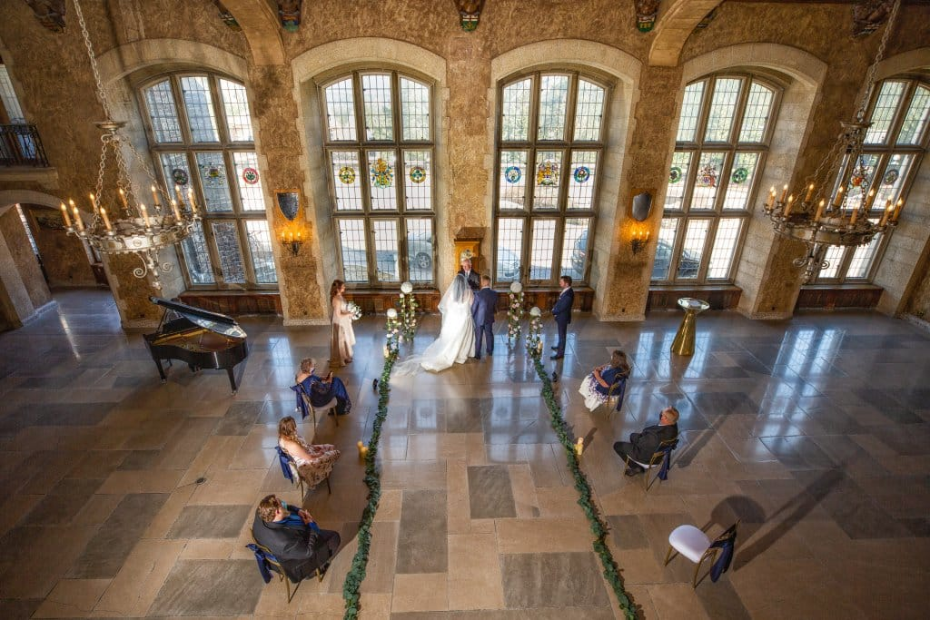 Banff Springs Hotel Wedding. Wedding ceremony in the Mt. Stephan's Hall by Banff wedding photographers, Burnett Photography.