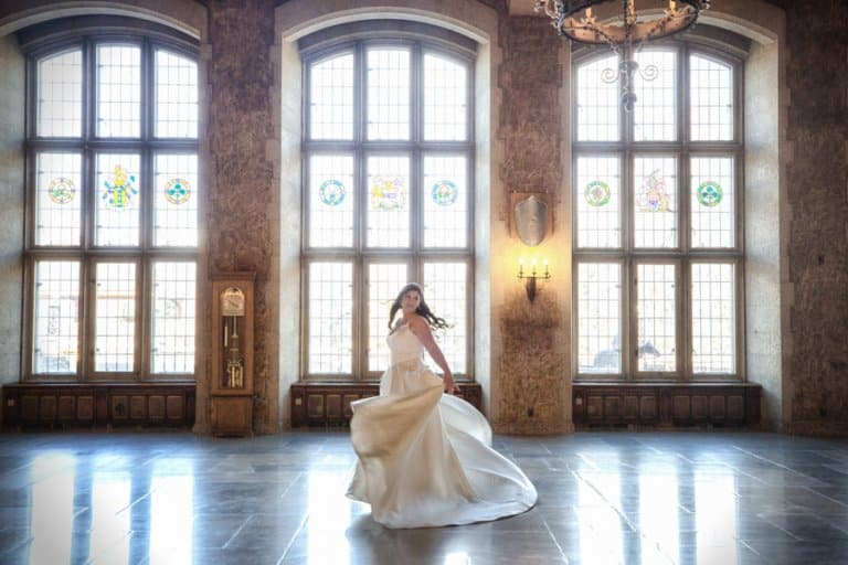 Banff Springs Hotel Wedding. Bride portrait in the Mt. Stephan's Hall. By Banff wedding photographers, Burnett Photography.