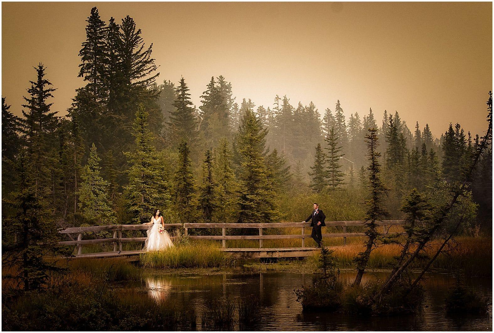 Smoky Skies over Canmore, Award-winning photo by Banff wedding photographers,Burnett Photography