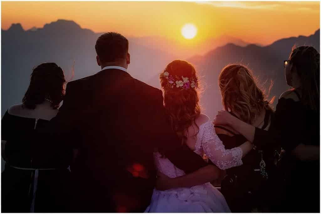 Banff wedding at top of Sulphur Mountain Gondola by Banff photographers, Burnett Phoogrraphy