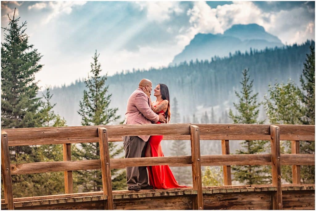Engagement session during smoke season in the Banff National Park.