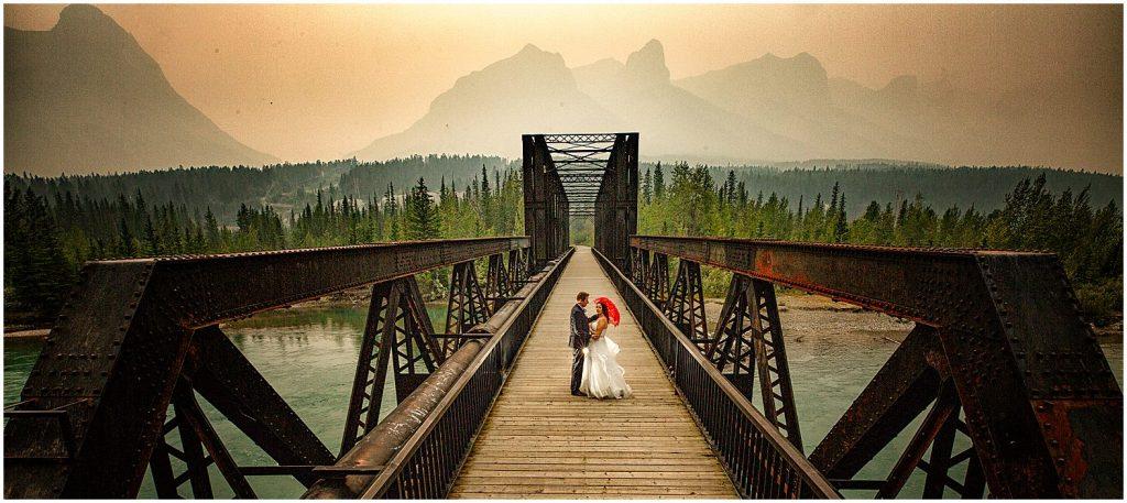 Banff wedding at the Canmore Engine Bridge, by Banff photographers, Burnett Photography