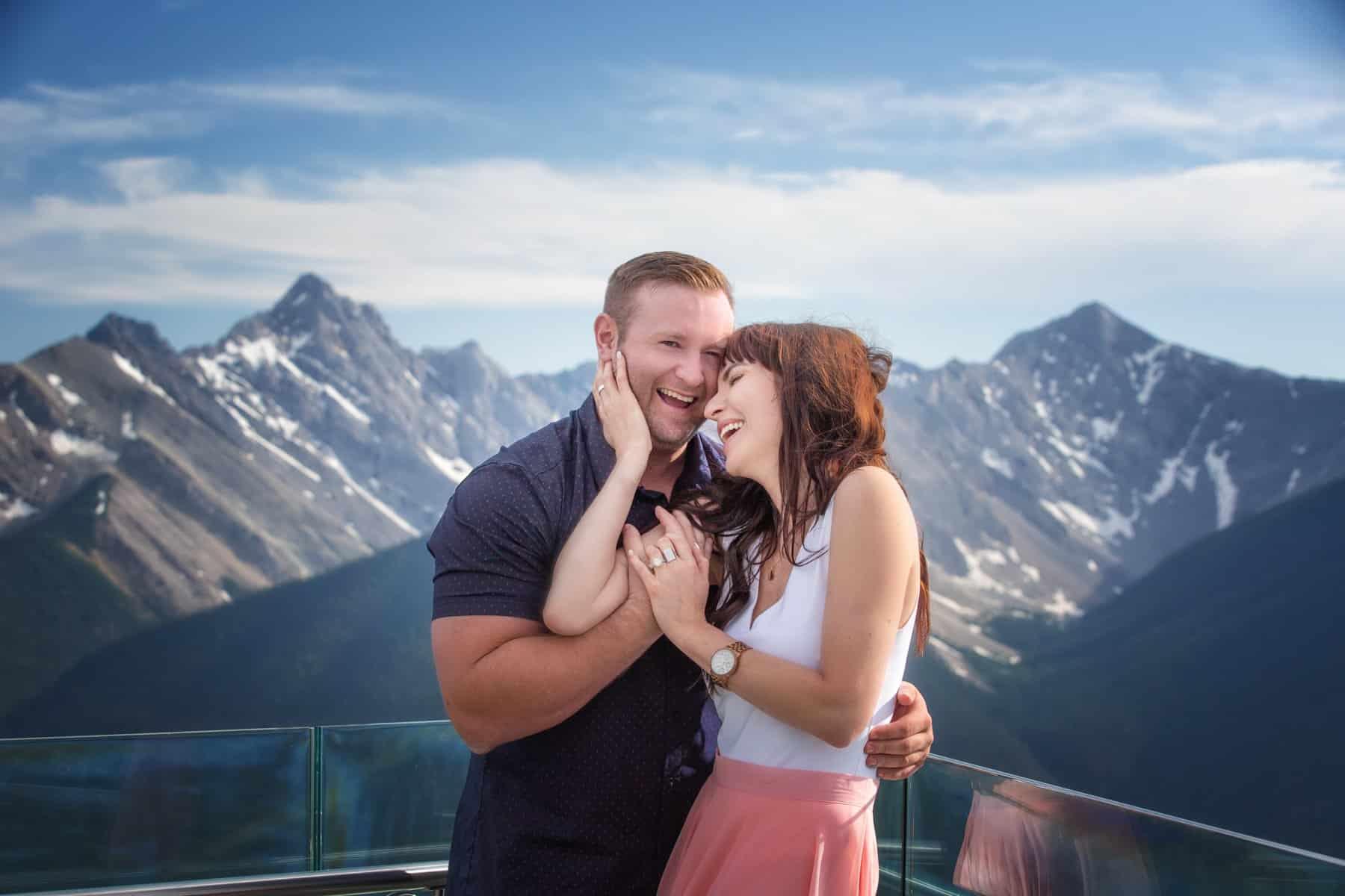 Banff engagement photography at Sulphur Mountain Gondola by Banff photographers, Troy and Shirleen Burnett, Burnett Photography.